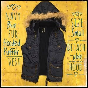 Jackets & Blazers - Navy Blue Fur-Trimmed Puffer Vest